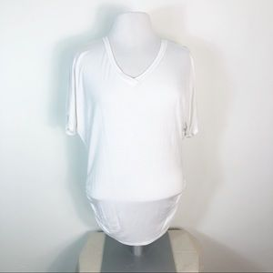 Johnny Was Ruched Side V-Neck Tee Shirt